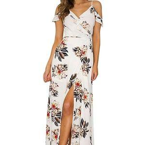 NWT L Cold Shoulder Wrap Maxi Dress White Floral
